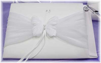 White Satin Butterfly Bridal Guest Book