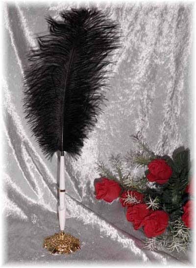 Black Feather Garden Wedding Pen