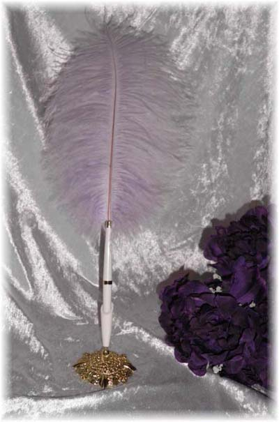 Mauve Feather Garden Wedding Pen