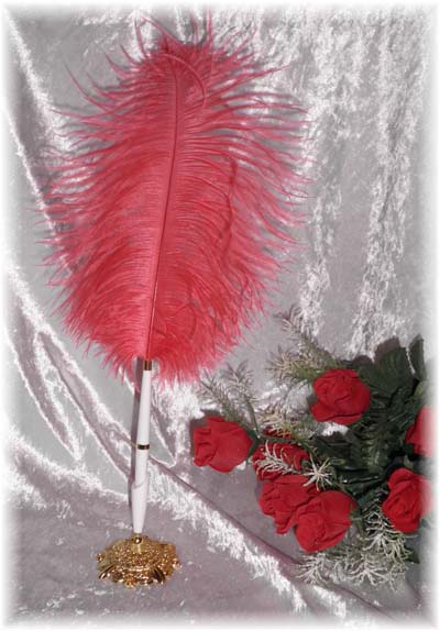 Red Feather Garden Wedding Pen