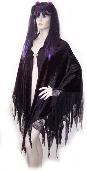 Black Gothic Fairy Wispy Wrap Shawl