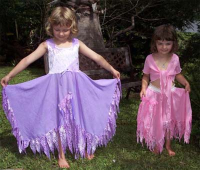 Hannah and Paige in their Emerald Forest Designs Fairy Dresses