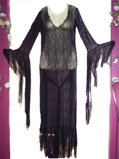 Black Spider Lace Mortisha Adams Dress