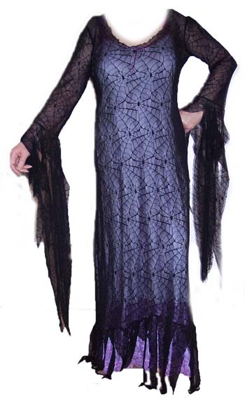 Black Spider Lace Mortisha Adams Stocking Dress