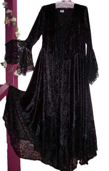 black velvet hanky style dress with lace trim