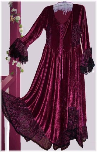 gorgeous burgundy velvet & lace hanky dress
