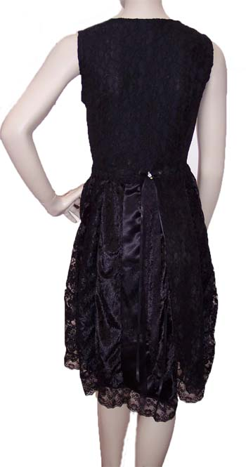 Black Patchwork Empire Line Formal Party dress back view