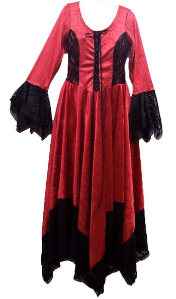 Red Velvet and Black Lace Medieval Hanky Dress