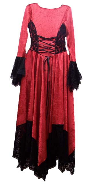Back View of the gorgeous medieval velvet and lace hanky dress