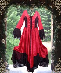 Red Velvet with Black Lace Gothic Fairy Garden Wedding Dress