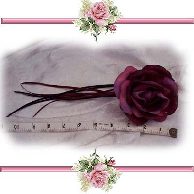 Side View Burgundy Rose Hair Clip Wedding Accessory