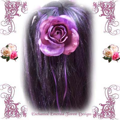 View of the Purple Rose Hair Clip
