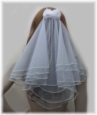 White Doulbe Layer Short Fairytale Bridal Veil