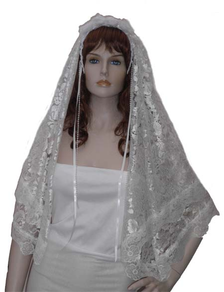 White Flower Lace Bridal Veil or First Holy Communion Veil