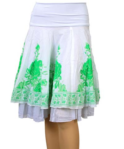 Emerald & White Cotton Fairy Skirt