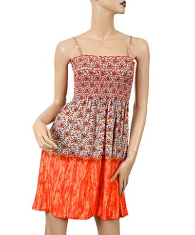 Orange Shirred Summer Dress