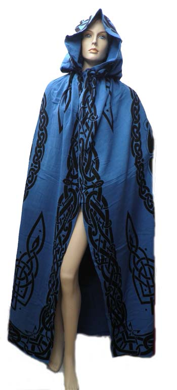 Blue Cotton Celtic Print Reversible Cloak