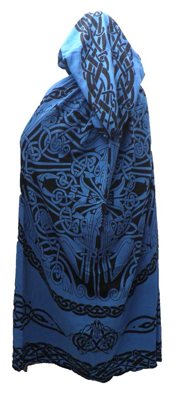 Blau Cotton Black celtic Print Reversible Robe