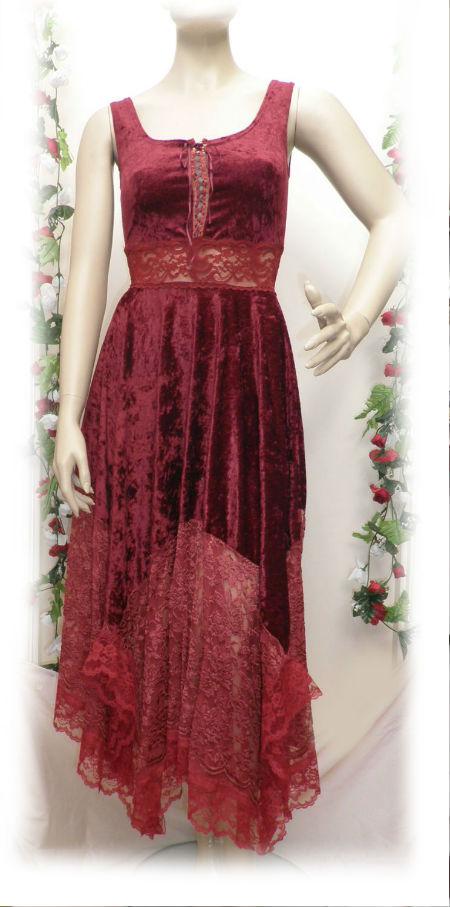 Burgundy Velvet and Lace Medieval Hankie Fairy Dress