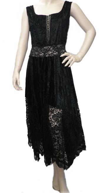 Black velvet and Lace Hanky Dress