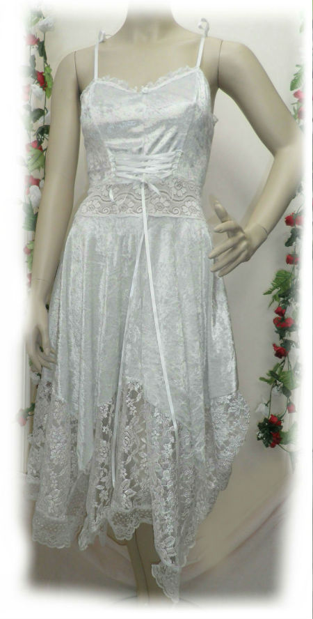 White Velvet Lace Up Hankie Dress - Fairy Dress