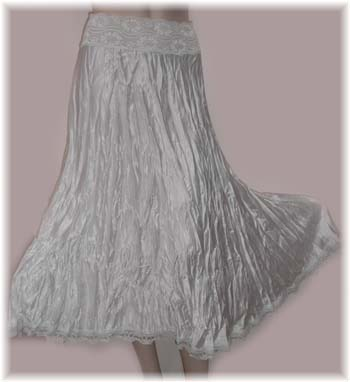 White Crinkle Satin Skirt