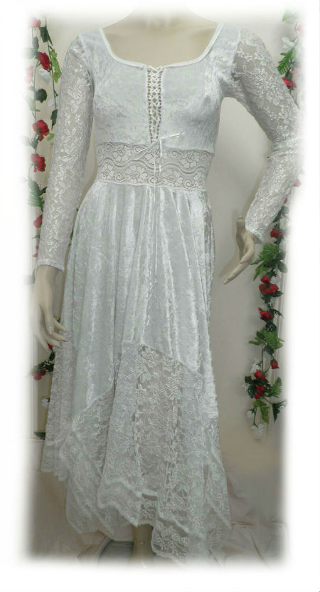 White Velvet and Lace Hankie Dress - Size 6