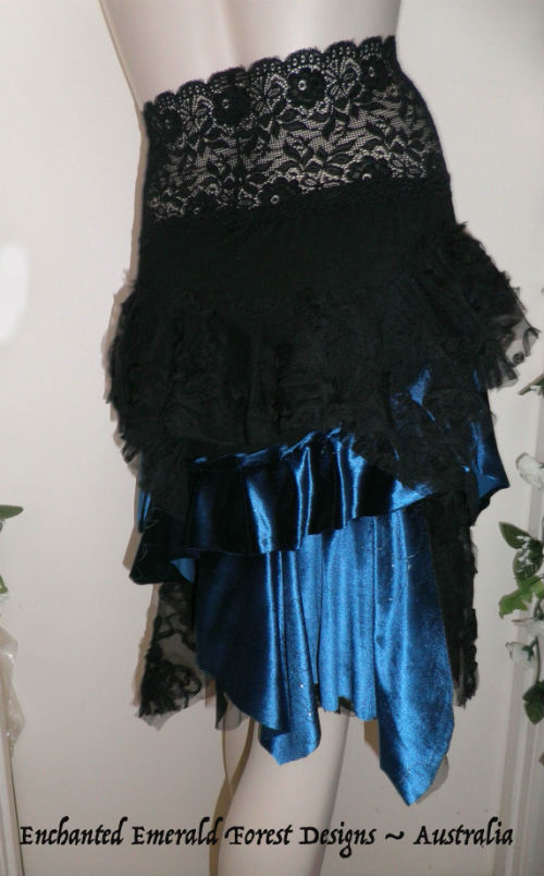 Blue Hippy Gypsy Skirt