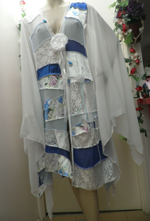 Blue and White Fairy Gypsy Wedding Patchwork Coat