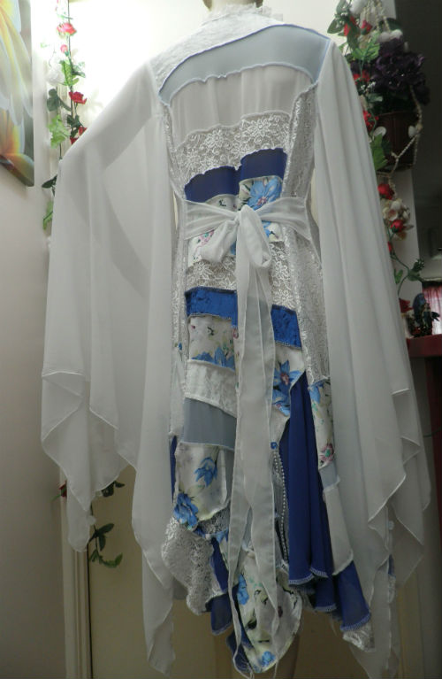 Blue and White Fairy Wedding Patchwork Coat