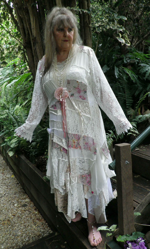 Ivory Gypsy Patchwork Dusty Pink Rose Coat