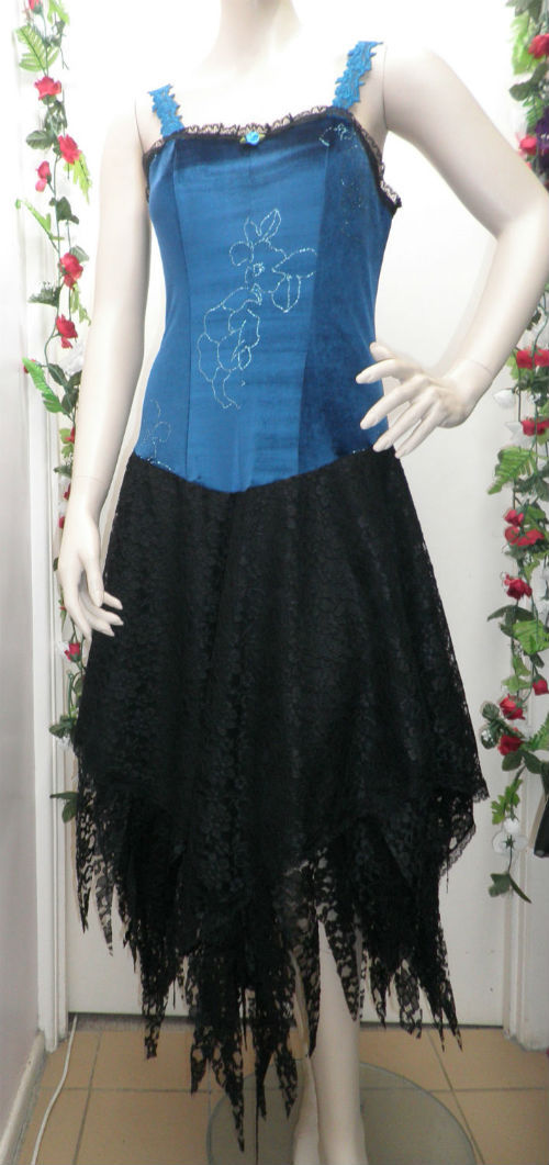 Peacock Blue Glitz  Black Wipsy Lace Fairy Dress