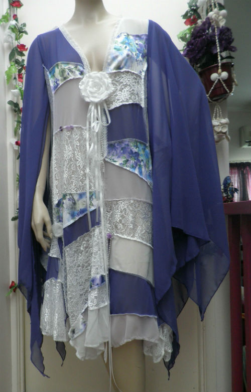 Purple and White Bohemian Patchwork Fairy Coat