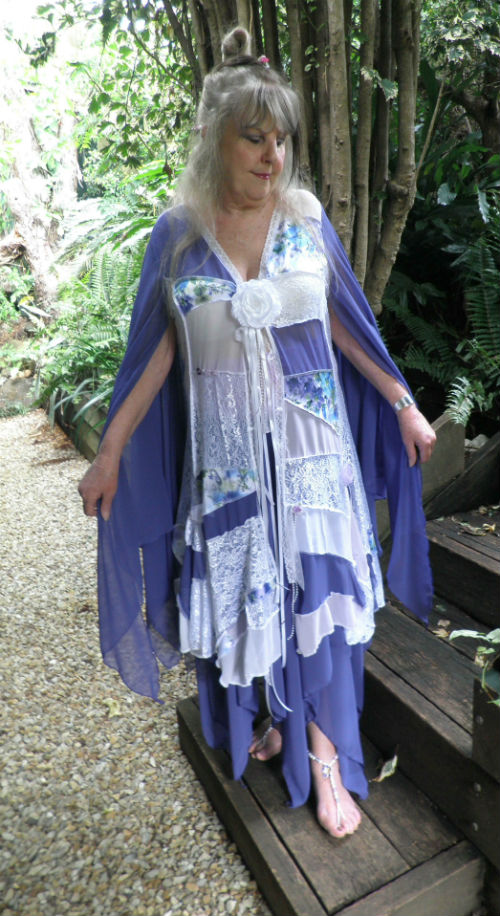 Purple and White Patchwork Gypsy Wedding Coat