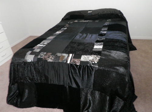 Black Patchwork Gypsy Velvet Bed Spread