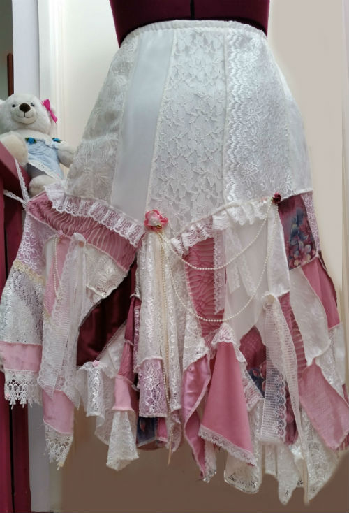 Ivory Dusty Rose Pink Patchwork Skirt