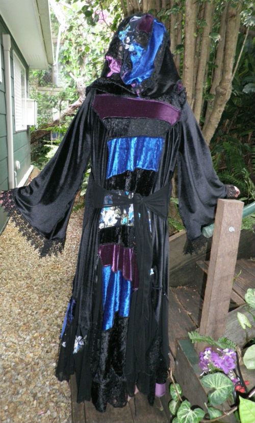 Blue Black & Purple Patchwork Gypsy Coat