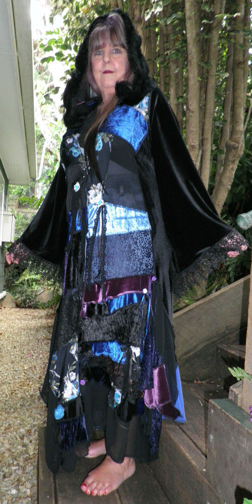Black Purple Blue Gypsy Bohemian Coat