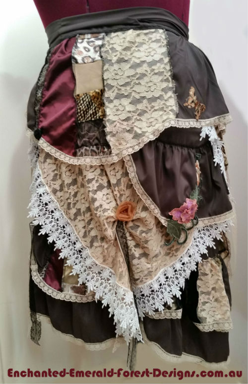 Brown Fairy Gypsy Wearable Art Wrap around Skirt