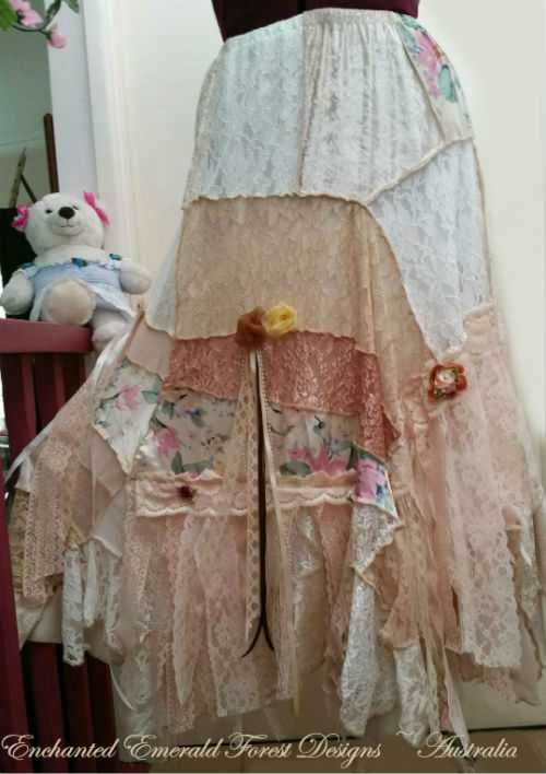 Peach Pink Lace Patchwork Gypsy Skirt