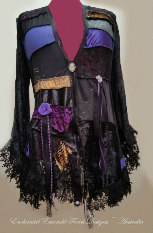 Purple Gypsy Style Patchwork Coat