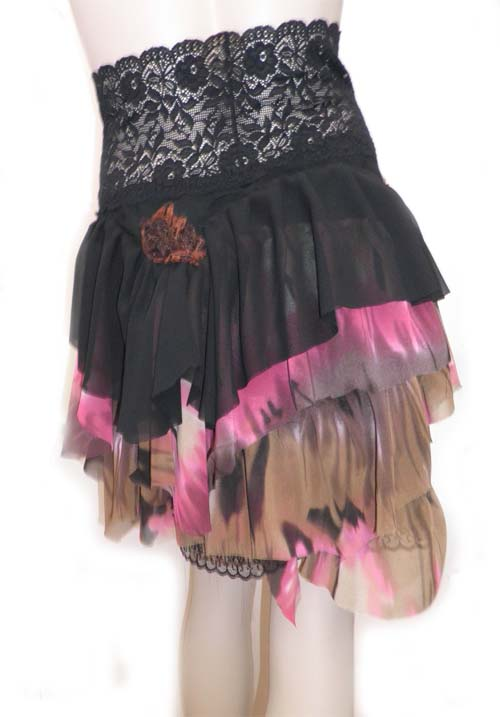 Pink Black Brown Gyspy Dance Skirt Summer Skirt