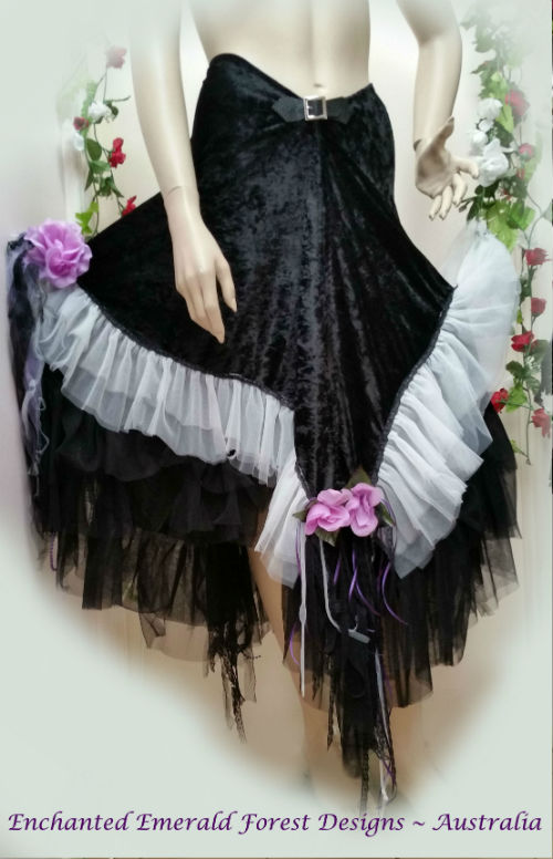 Black Velvet Fairy Wrap Skirt