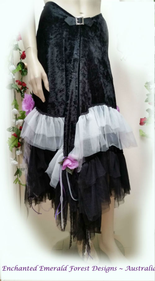 Black Velvet Shawl Skirt