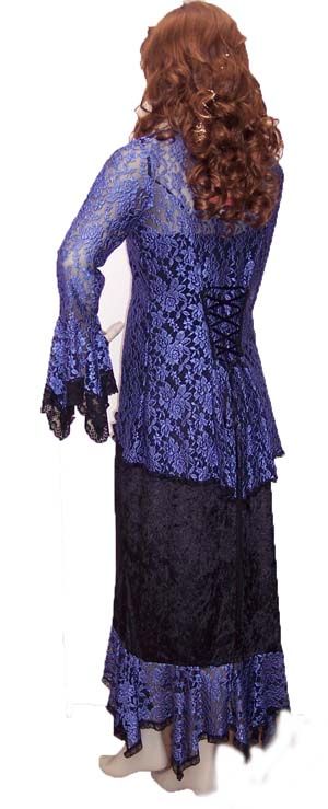 Back View of the Blue Lace and Black velvet Ensemble