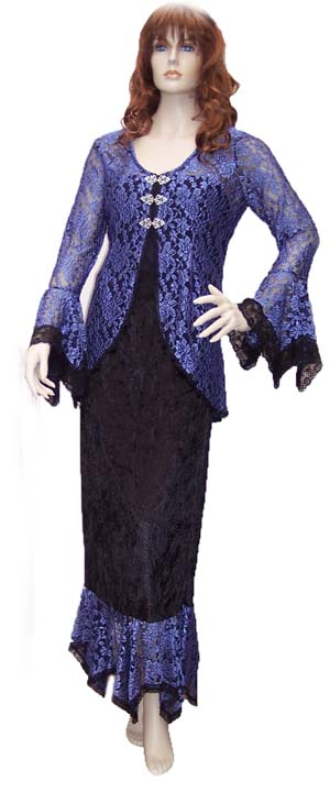 Blue Lace & Black Velvet Ensemble