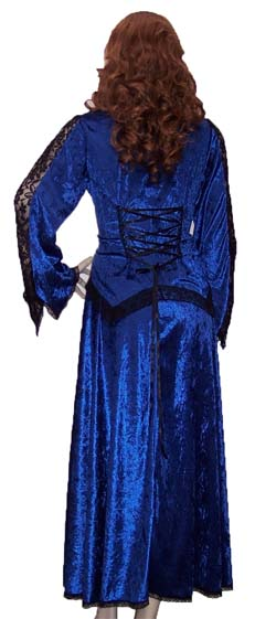 Royal Blue Velvet Skirt & Top Set view of the lace-up back