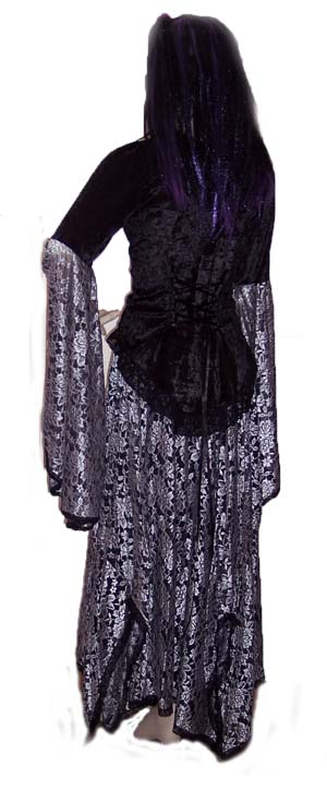 Silver and Black Lace with Blakc Velvet Gothic Suit Back View