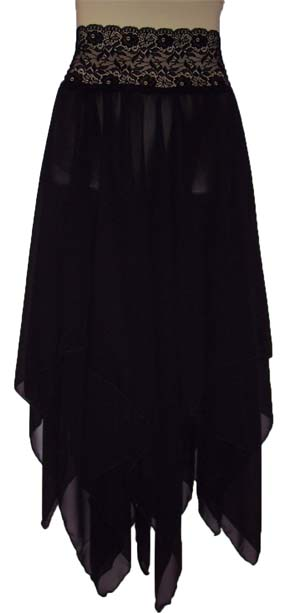 Stevie Nicks Style Black Chiffon Rhiannon Skirt