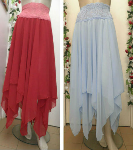 Stevie Nicks Style Rhiannon Chiffon Skirt Red and Power Baby Blue